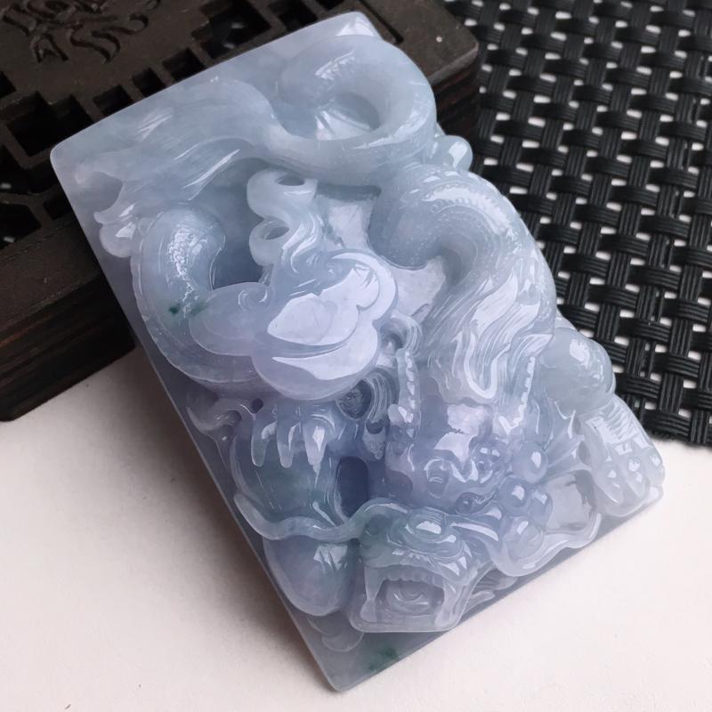 A货翡翠   糯种紫罗兰龙行天下龙牌挂件    尺寸70.2*44.5*16mm  水头好,玉质细腻