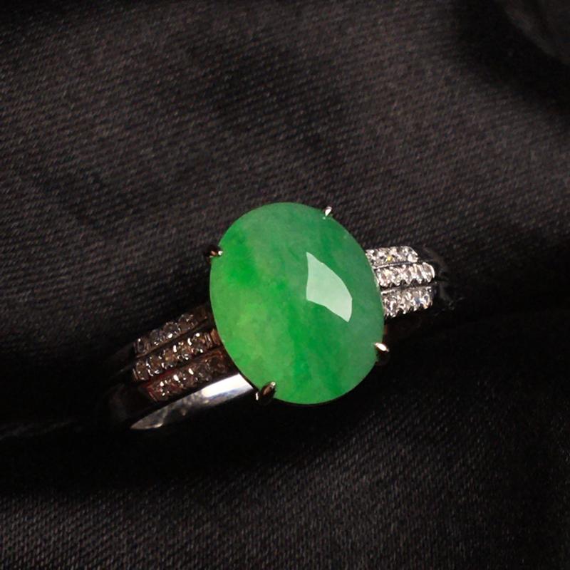 【天然翡翠A货,18k金镶嵌钻石,满绿戒指,料子细腻,冰透水润,色泽鲜艳,豪华镶嵌,款式精美,性价比超高,##**】图7