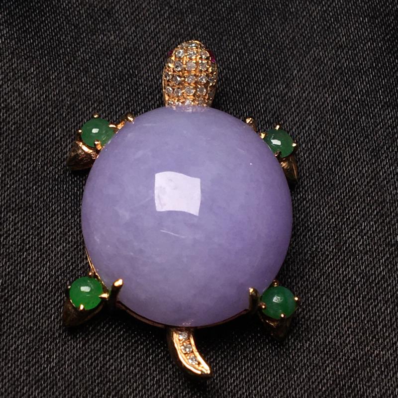 天然翡翠A货,18K金伴钻镶嵌,紫罗兰富甲天下,料子细腻,冰透水润,豪华镶嵌,性价比高,