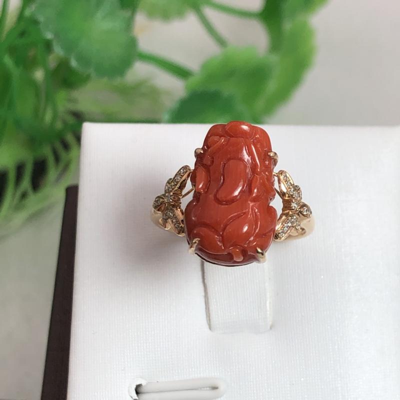 【红珊瑚貔貅女戒】纯天然🈚️添加,整料雕刻貔貅,裸石完美,深红色,颜色均匀,材料来自意大利深海,稀少