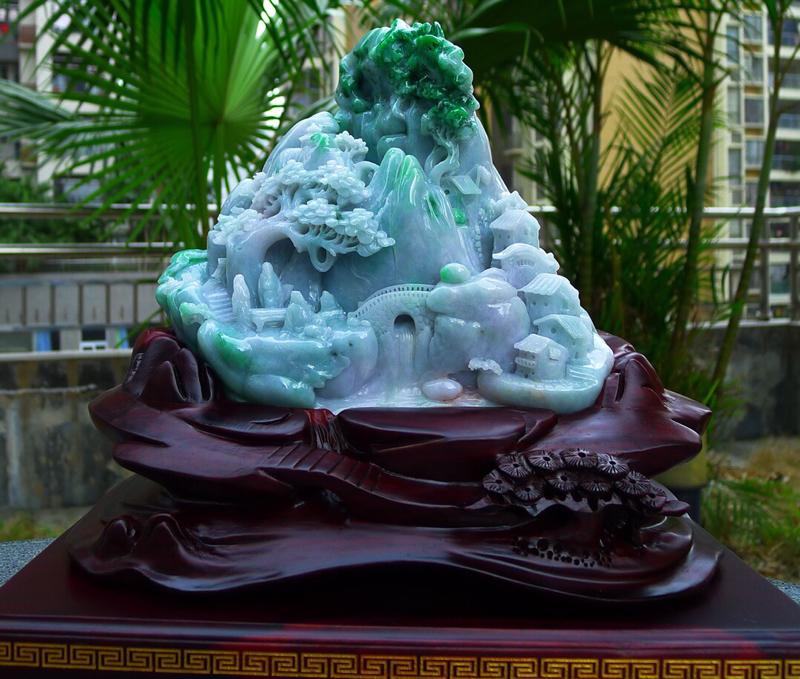精雕飘花阳绿 大件山水摆件 缅甸天然翡翠A货 精美 正阳绿 高山流水 山水摆件 雕刻精美线条流畅种水