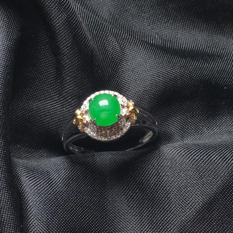 翡翠a货,满绿蛋面戒指,18k金镶嵌,种水一流,佩戴精美,性价比高
