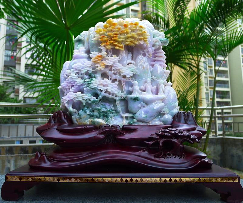 精雕 三彩 大件山水摆件 缅甸天然翡翠A货 精美  高山流水 山水摆件 雕刻精美线条流畅种水好 层次