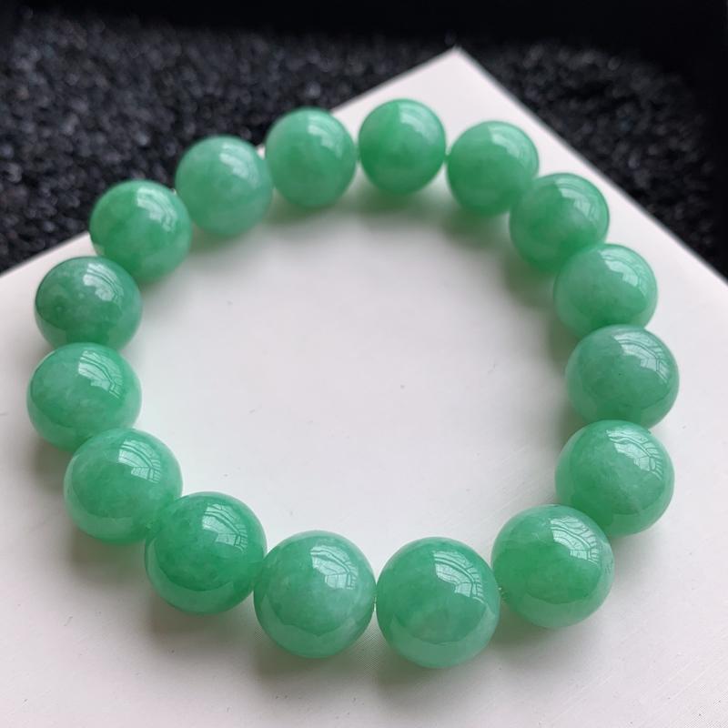 🙏缅甸天然翡翠A货   水润饱满圆润带色珠链,尺寸13mm,饱满圆润,完美度高,佩戴效果更好