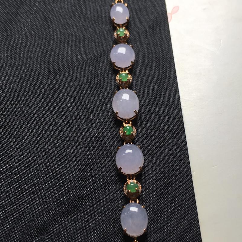 翡翠a货,冰紫蛋面手链,18k金镶嵌,种水一流,佩戴精美,性价比高,实物漂亮