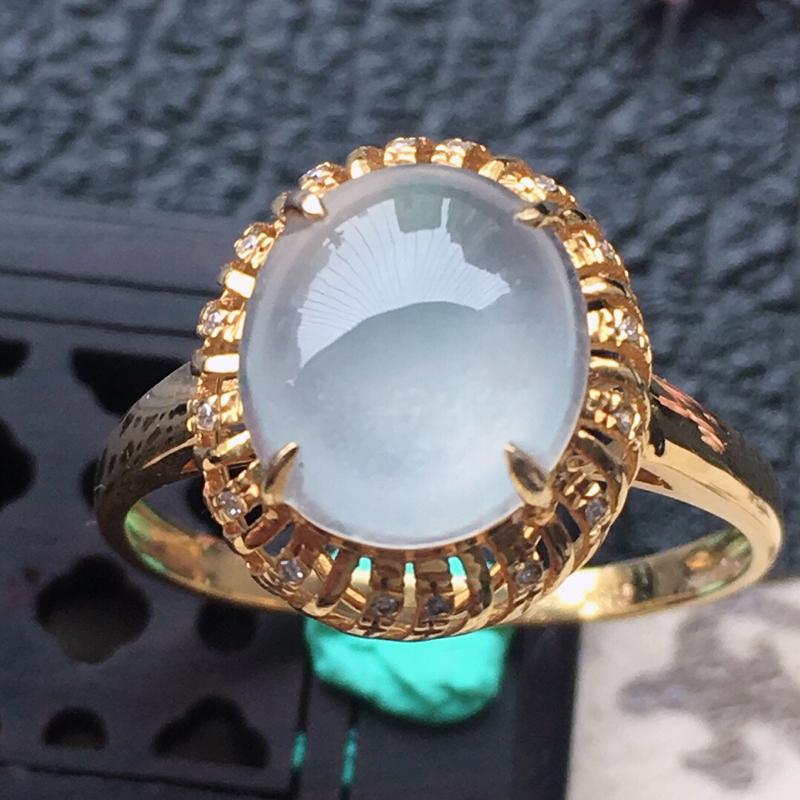 缅甸翡翠17圈口18k金伴钻镶嵌蛋面戒指,自然光实拍,颜色漂亮,玉质莹润,佩戴佳品,内径:17.2m