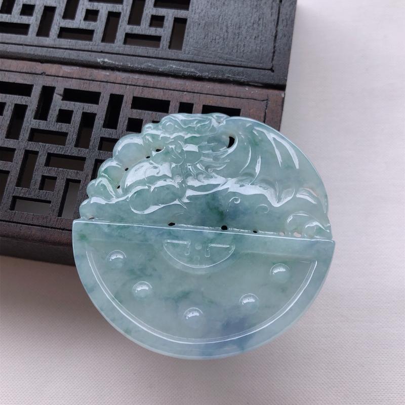 紫罗兰翡翠招财貔貅吊坠 尺寸:53.4*54.4*6.6mm