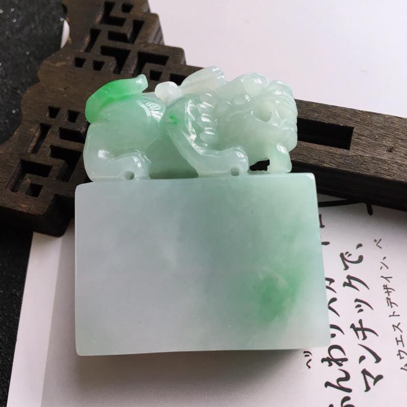 缅甸天然翡翠A货,飘绿招财貔貅印章尺寸43.2*36.3*15.4