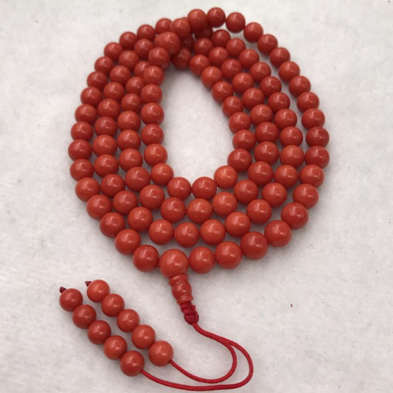【佛教珍宝7mm红珊瑚圆珠108佛珠串】可绕手多圈,也可单独做项链,念佛珠。橘红色,意大利海域沙丁料