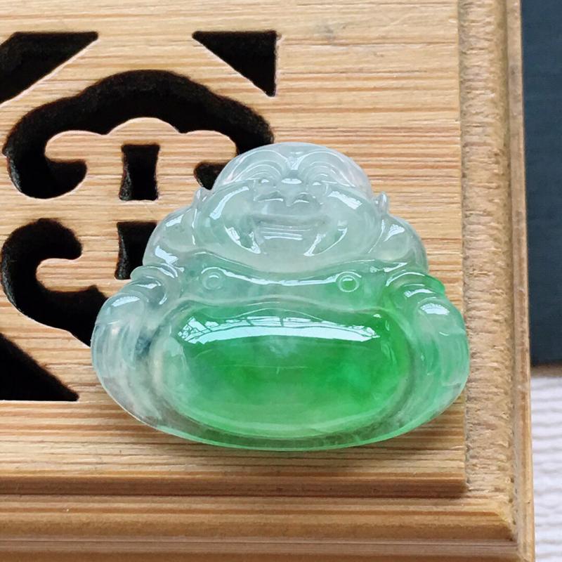 冰糯种飘绿佛公吊坠, 料子细腻,雕工精美, 颜色漂亮,尺寸:16×20×4mm##**