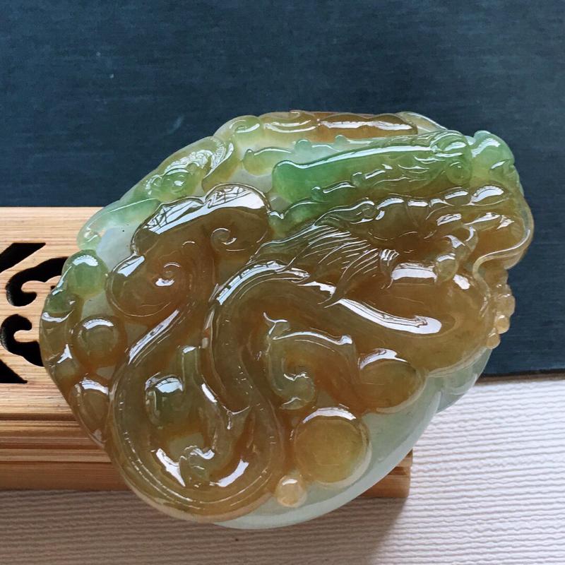【糯化种大件厚装黄加绿镂空生意兴隆吊坠, 料子细腻,雕工精美, 颜色漂亮,尺寸:62×48×16mm】图6