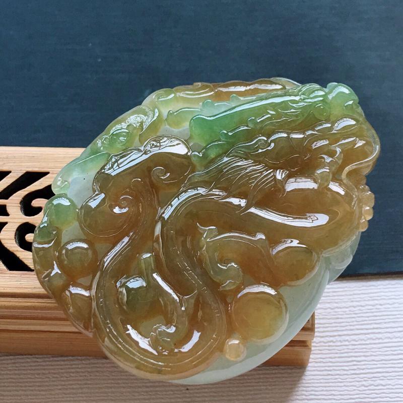 糯化种大件厚装黄加绿镂空生意兴隆吊坠, 料子细腻,雕工精美, 颜色漂亮,尺寸:62×48×16mm