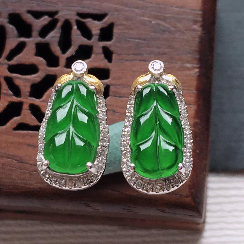 18k金镶嵌围钻冰糯种满绿树叶耳钉一对,   料子细腻,雕工精美,颜色漂亮,  含金尺寸:12.5×