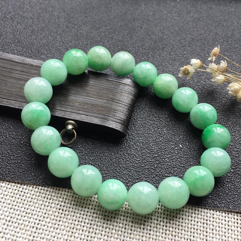 精品翡翠佛珠手链,雕工精美,玉质莹润,尺寸:玉:9.9MM,总质量:32.0g
