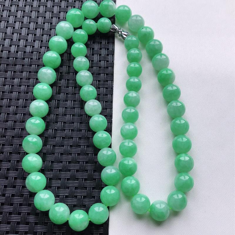 【原价8120元】*天然翡翠A货细糯种满绿精美圆珠项链,尺寸11mm,玉质细腻,种水好 底色漂亮,上