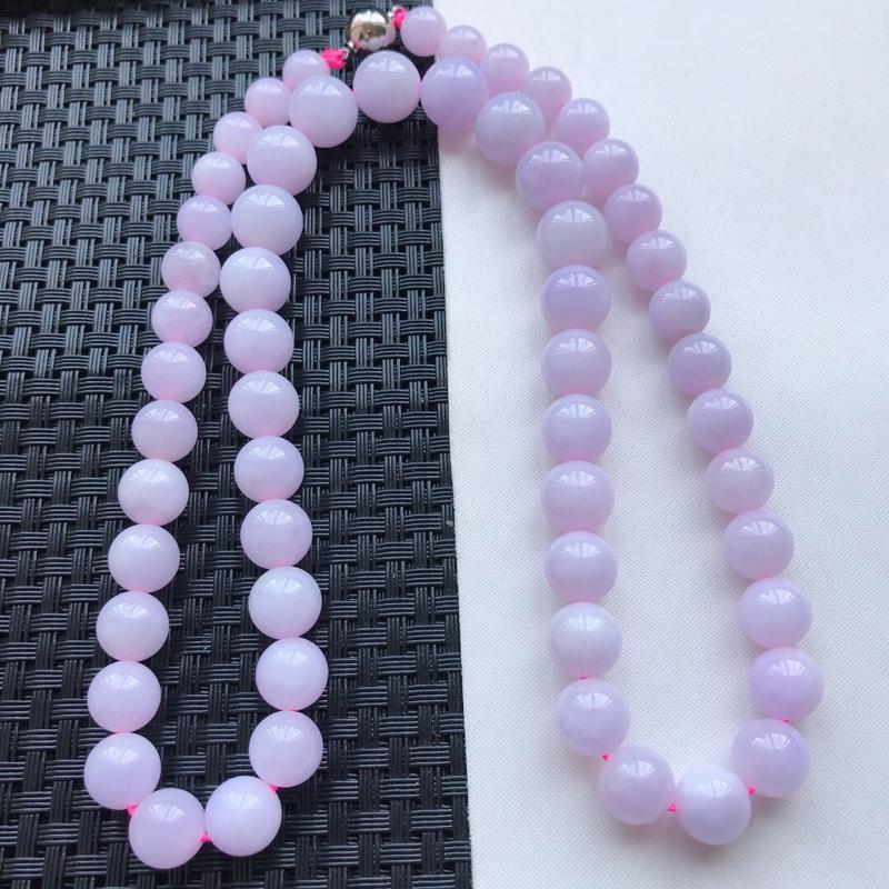 【原价4950元】*天然翡翠A货细糯种淡紫精美圆珠项链,尺寸11.5mm,玉质细腻,种水好 底色漂亮