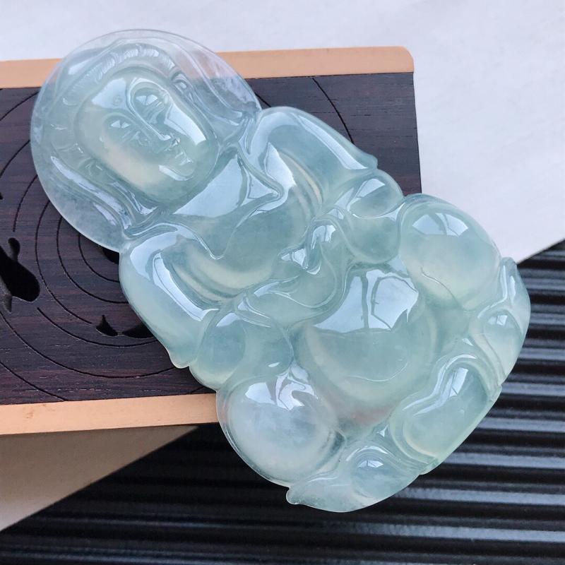 天然翡翠A货冰糯种浅绿精美观音吊坠,尺寸64.4-38.5-6.6mm,玉质细腻,种水好 底色漂亮,