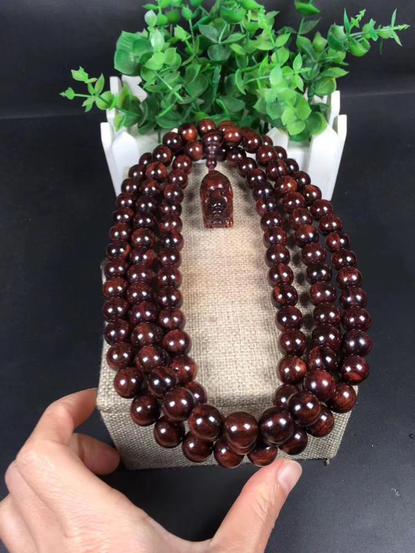 海南黄花梨紫油梨1.2cm念珠、瘤疤花、水波及天眼[色配饰高档(貔貅)收藏价值高。