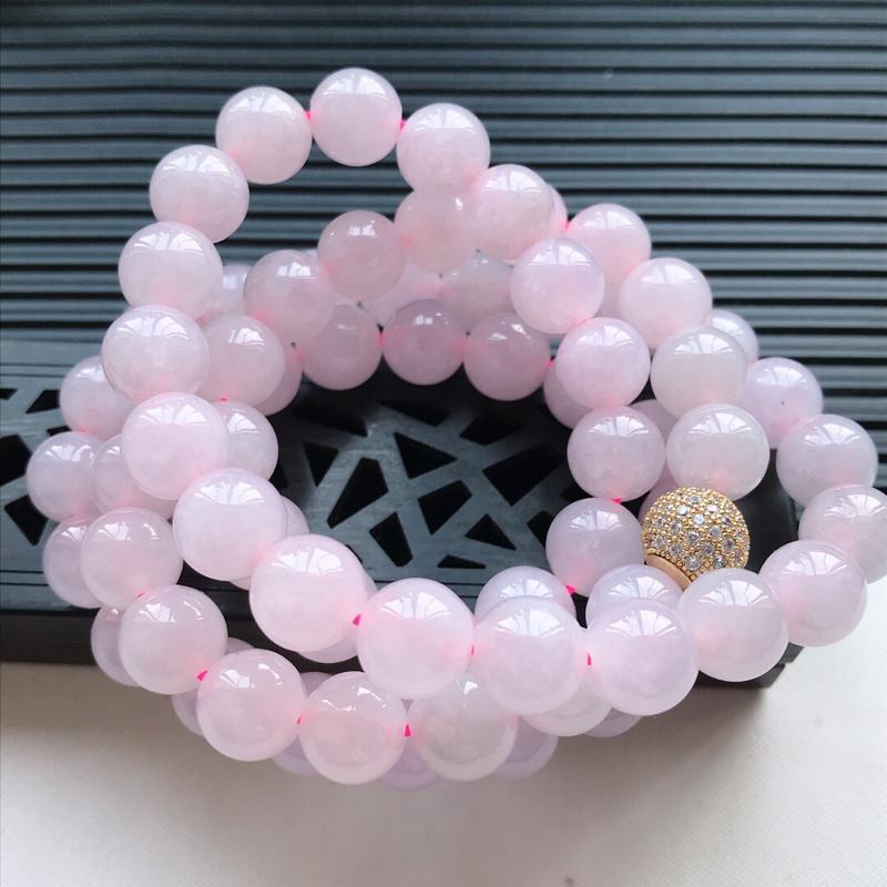 天然翡翠A货细糯种紫罗兰精美圆珠项链,尺寸9.6mm,玉质细腻,种水好 底色漂亮,上身效果漂亮