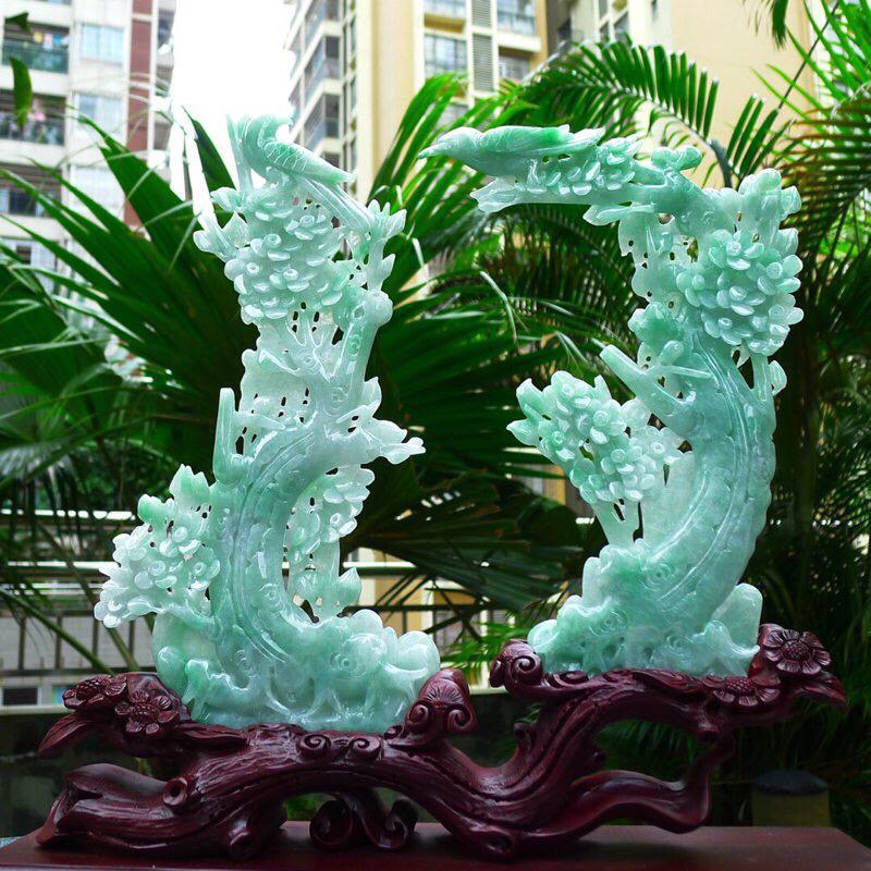 喜上眉梢摆件 缅甸天然A货翡 花开富贵 双喜临门 和和美美 寓意吉祥如意 幸福美好 送礼佳品 雕刻精