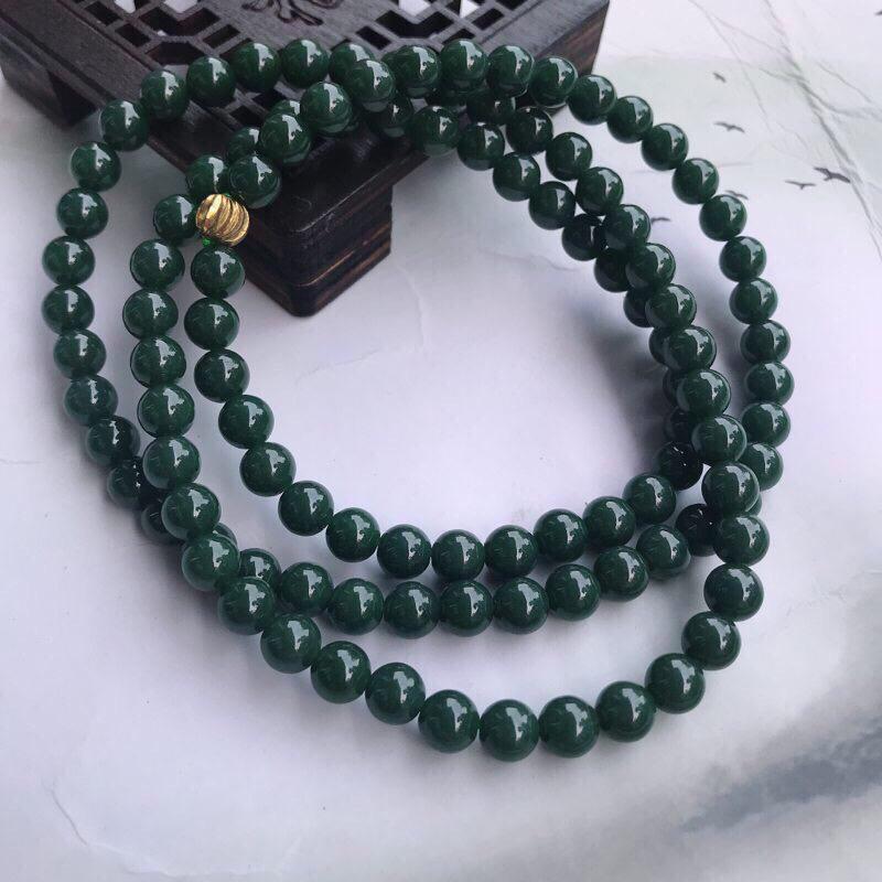 翡翠满色油润细腻圆珠玉链项链 毛衣链,直径7.3mm 108珠佛链 色泽鲜艳均匀,个别微纹