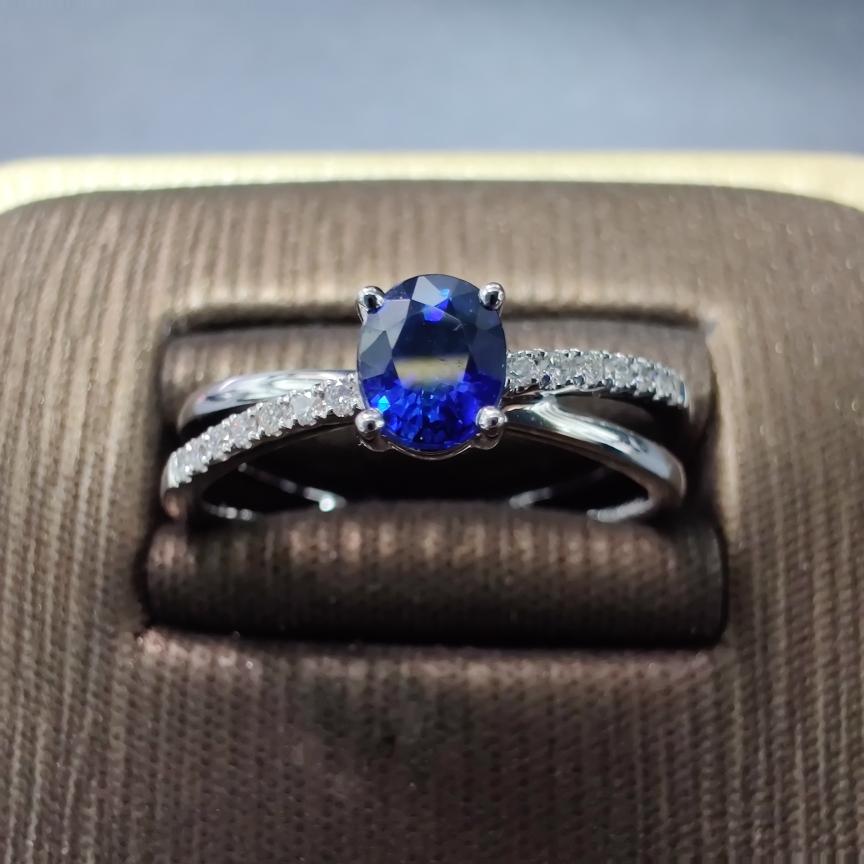 【低价放漏】*【戒指】18k金+蓝宝石+钻石
