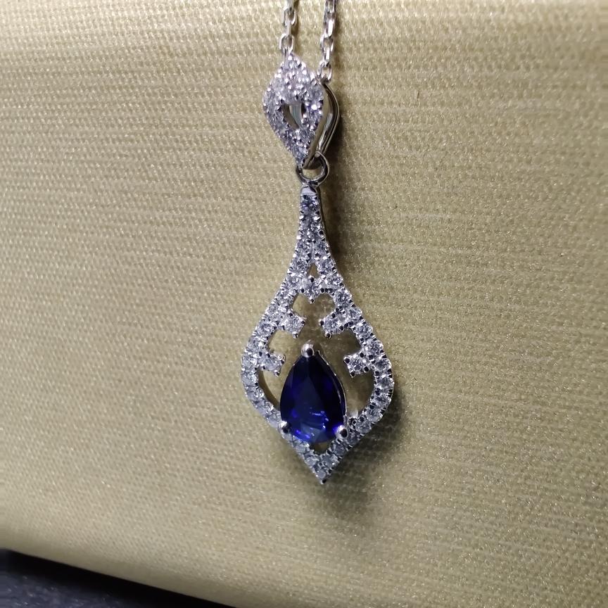【吊坠】18k金+蓝宝石+钻石