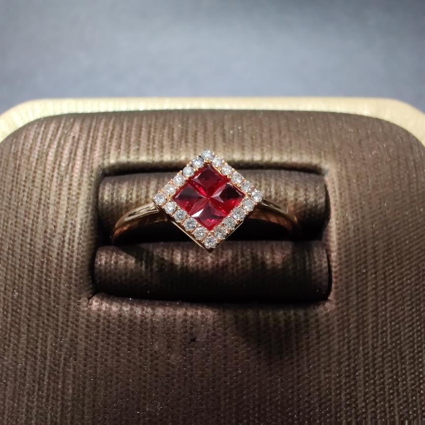 【戒指】18k金+红宝石+钻石