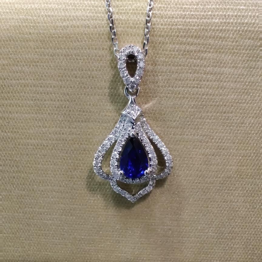 【低价放漏】*【吊坠】18k金+蓝宝石+钻石