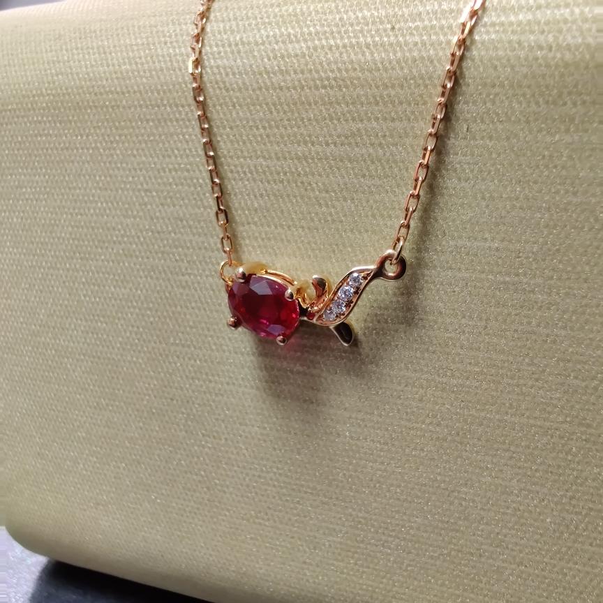【项链】18k金+红宝石+钻石