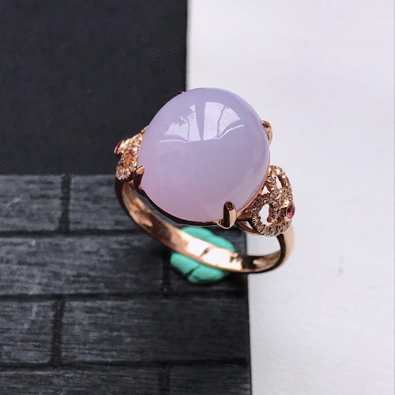 天然翡翠A货18K金镶嵌伴钻细糯种紫罗兰精美蛋面戒指,内径尺寸18mm,裸石尺寸13-11.7-5.