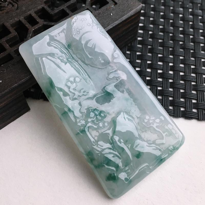 A货翡翠   冰糯种飘花锦绣山河山水牌挂件   尺寸58.2*32.6*5mm  水头好,玉质细腻,