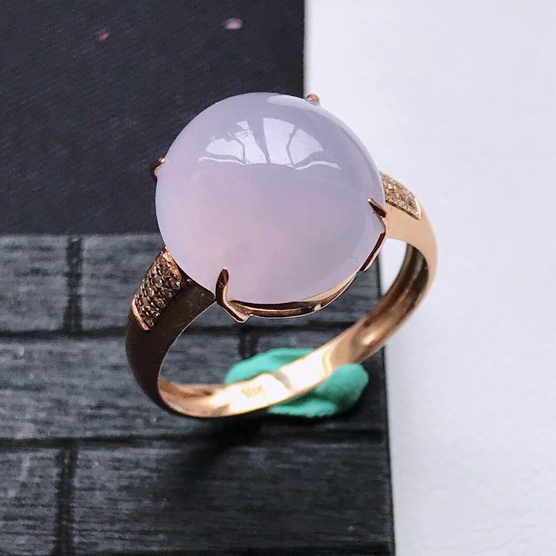 天然翡翠A货18K金镶嵌伴钻糯化种淡紫精美蛋面戒指,内径尺寸18.3mm,裸石尺寸13-12-5.2