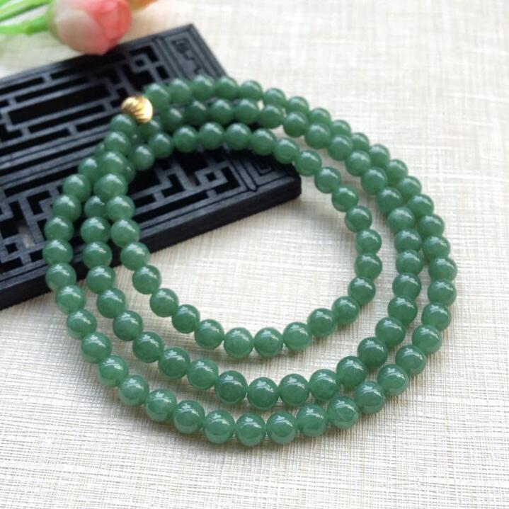 天然A货翡翠【自然光拍摄】精美108颗满绿珠项链