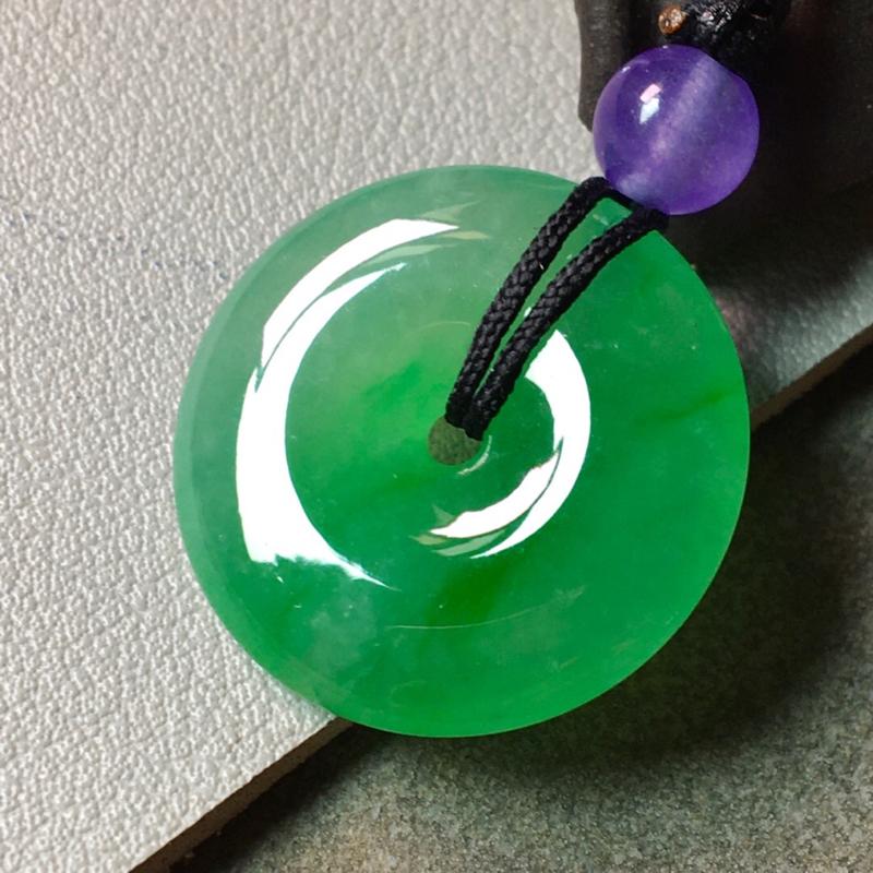 冰阳绿平安扣,色辣,完美,