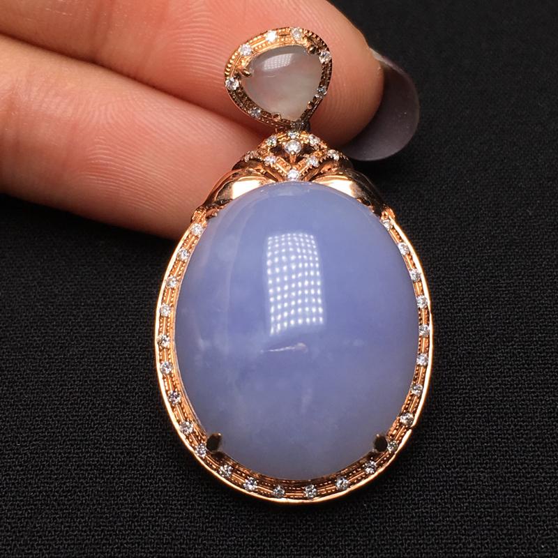 紫罗兰鸽子蛋吊坠 大件饱满 圆润细腻 18k金钻镶嵌 紫色清雅 整体36.8*20.8*11 裸石2