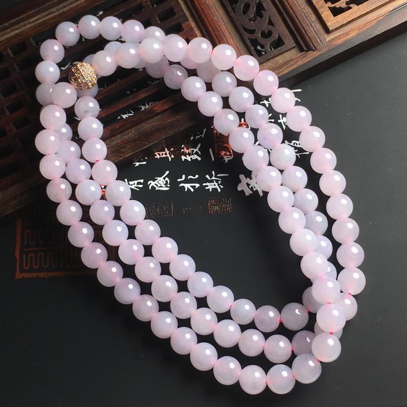 糯化种粉春佛珠项链