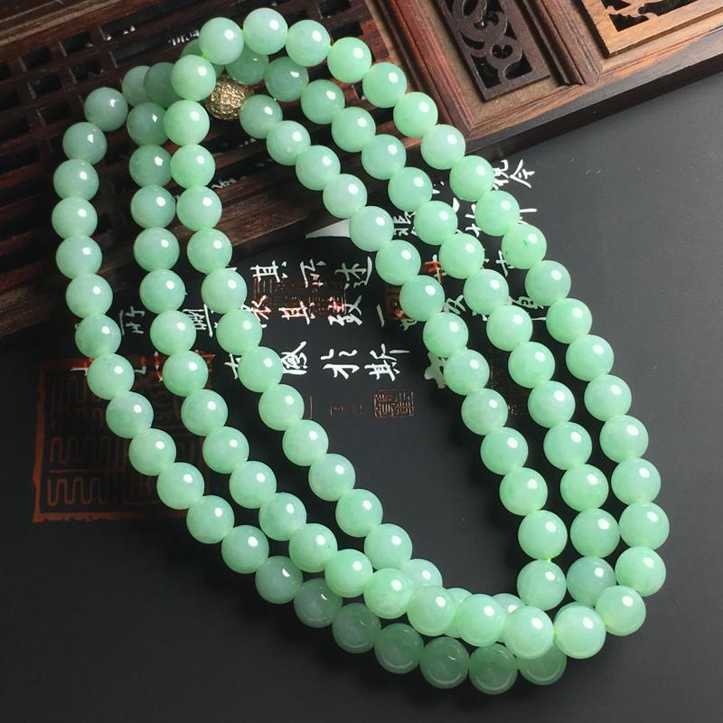 细糯种晴绿佛珠项链