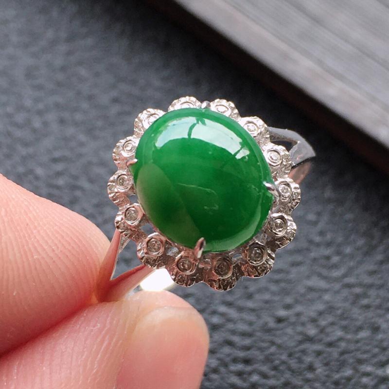 精品翡翠18K镶嵌伴钻戒指,