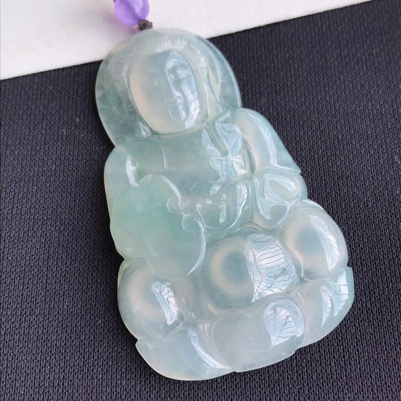 天然翡翠A货冰糯种淡绿观音吊坠,尺寸:60.5×36.3×6.4mm,水润通透,形体饱满,雕工精美,