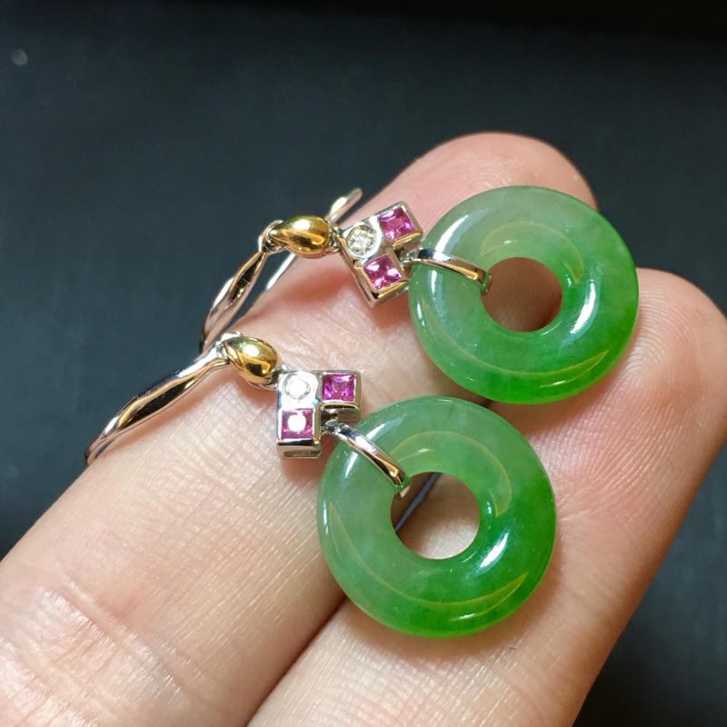 绿花耳坠,裸石14.5-3.5mm,4.32g,有种有水头,料子不错