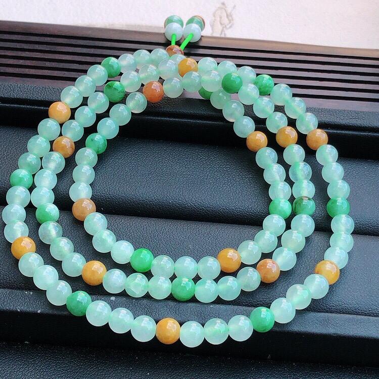 天然缅甸老坑翡翠A货多彩圆珠子项链,料子细腻柔洁,尺寸珠子直径6mm,总数106颗,重量35.5g。