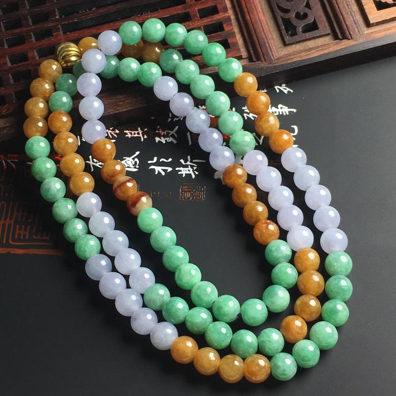 细糯种三彩佛珠项链 直径6.5毫米 玉质水润 色彩亮丽