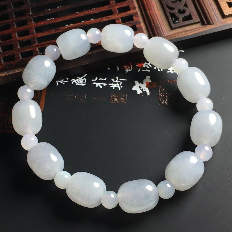 糯化种路路通手串 裸石尺寸12-11毫米 玉质水润 配珠为翡翠