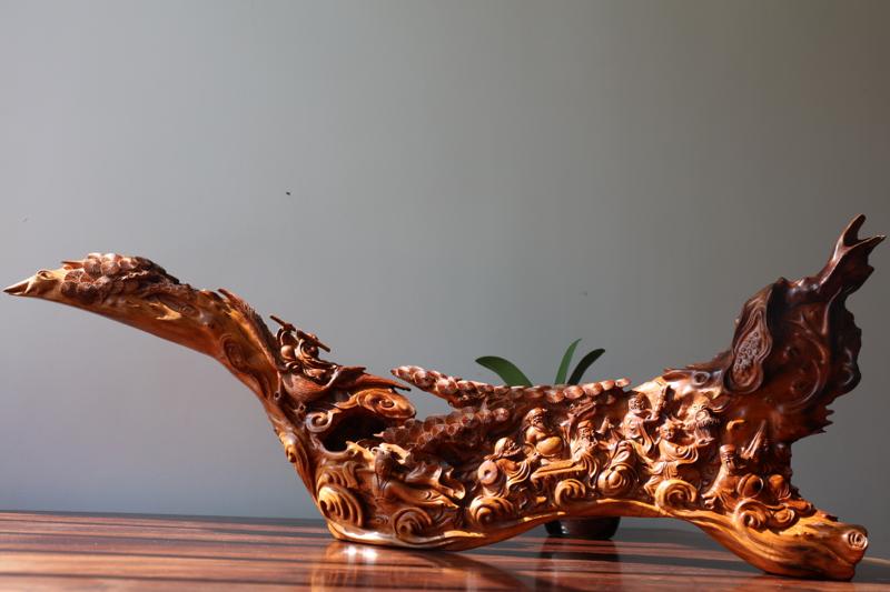 正宗海南黄花梨老黄梨雕件(八仙过海)大师雕工、色泽均匀、底色干净、用料大气、规格:长793mm