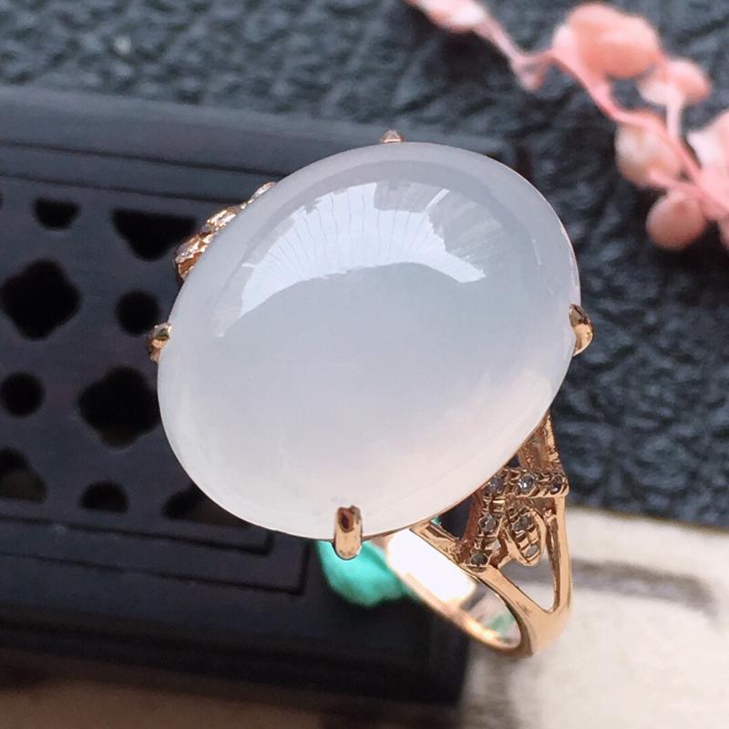 缅甸翡翠17圈口18k金伴钻镶嵌蛋面戒指,自然光实拍,玉质莹润,佩戴佳品,内径:17.1mm(可免费