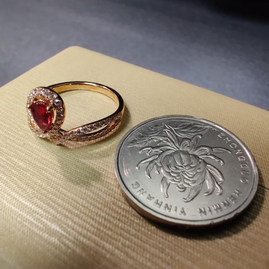 【【戒指】18k金+红宝石+钻石 宝石颜色深邃 款式典雅 主石:0.51ct  货重:2.86g##**】图5