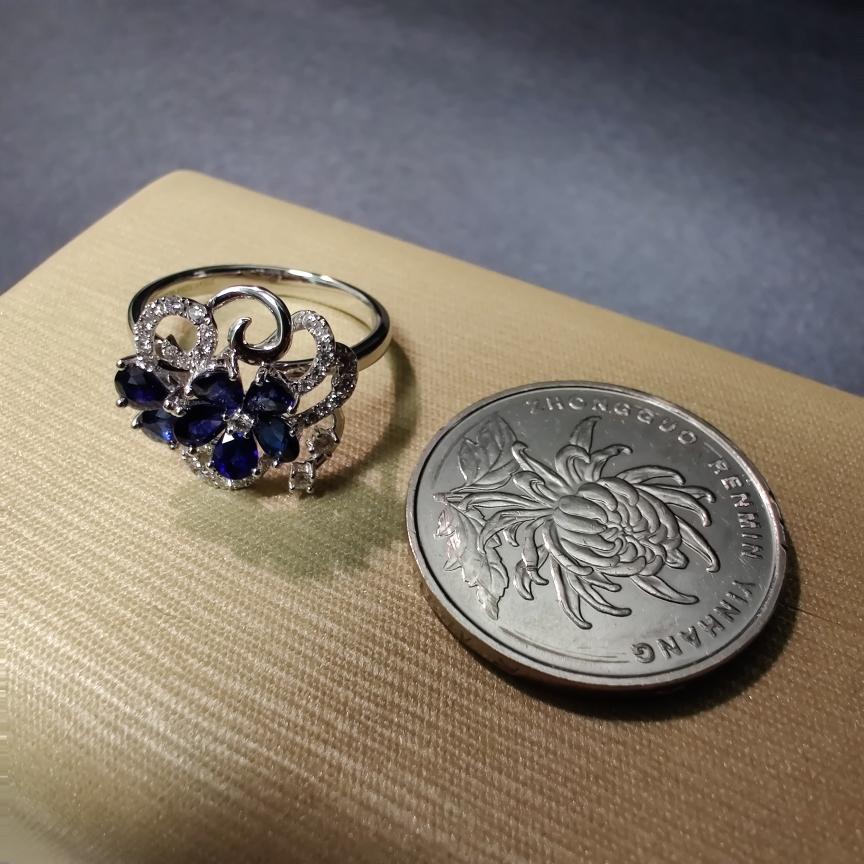 【【戒指】18k金+蓝宝石+钻石 宝石颜色纯正 切工精细 主石:1.12ct/7p  货重:3.44g##**】图5
