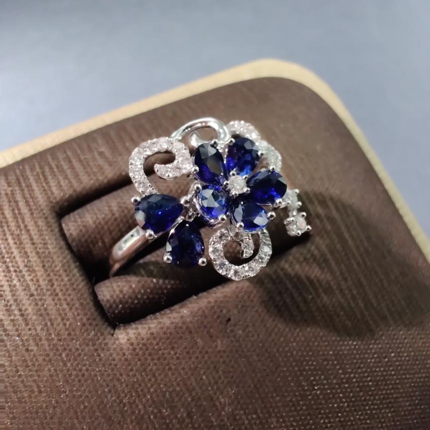 【【戒指】18k金+蓝宝石+钻石 宝石颜色纯正 切工精细 主石:1.12ct/7p  货重:3.44g##**】图3