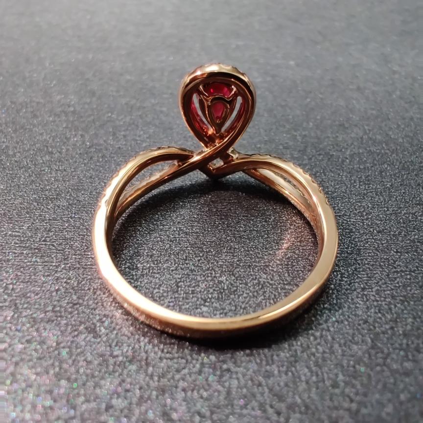 【【戒指】18k金+红宝石+钻石 宝石颜色深邃 款式典雅 主石:0.51ct  货重:2.86g##**】图4
